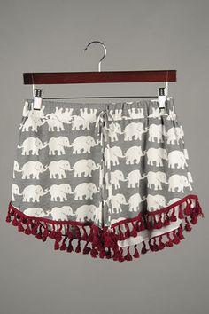 Oh so adorable Elephant Fringe Pom Pom Alabama Gameday shorts...Roll Tide Roll! Sizes S-M-L just $32 and FREE SHIPPING whne you mention this post prior to checkout. To order simply TEXT 205-514-8222 anytime 24/7
