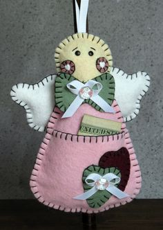 Wool Felt Pink Angel Girl Money Holder Ornament by FHGoldDesigns