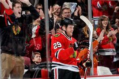 CHICAGO, IL - APRIL 7: Bryan Bickell #29 of the Chicago Blackhawks reacts after scoring against the Nashville Predators in the second period during the NHL game on April 07, 2013 at the United Center in Chicago, Illinois. (Photo by Bill Smith/NHLI via Getty Images)