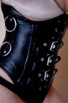 Gothic Black Leather Underbust Corset