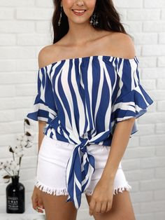 Striped Knot Front Flared Sleeve Bardot Blouse - Fashion Able Casual Skirt Outfits, Summer Outfits, Beach Outfits, Beach Attire, Party Outfits, Beach Dresses, Summer Dresses, Tops Online Shopping, Loose Shirts