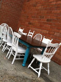 Custom Farmhouse Table, Mismatch Vintage Chair sets,Reclaimed Wood, Distressed,Dining Table