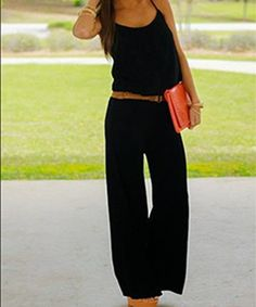 This black one-piece is exactly what every fashionista& summer wardrobe NEEDS. Simple and elegant, this soft, pocketed jumpsuit can be taken from day to night! Don& miss out on this versatile number!:) Fits true to size. Miranda is wearing Street Mode, Street Style, Looks Style, Style Me, Girlie Style, Gypsy Style, Hair Style, Mode Outfits, Casual Outfits