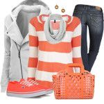 Van's Shoes and Striped Top Casual Outfit