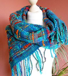 Handwoven scarf made of handspun Art Yarn.Hand by PastoralWool