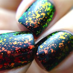 Bloody love this! Gorgeous! NEW-FLAKIE TopcoatsInferno Multi-Color Shifting by PolishMeSilly