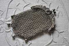 Victorian French Chatelaine purse, chainmail, Antique collectible silver purse, Made in France, antique collectible, chainmaile accesory