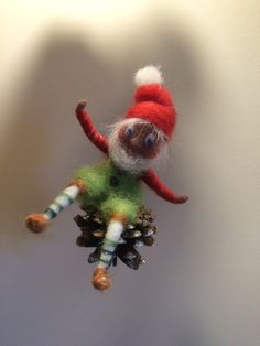 Waldorf inspired Needle felted Christmas Dwarf  on a corn Art Home decoration