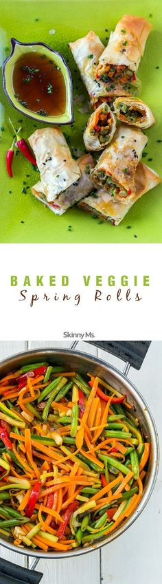 Vegetable Spring Rolls Baked Veggie Spring Rolls - incredible light meal option or appetizer for guests!Baked Veggie Spring Rolls - incredible light meal option or appetizer for guests! Veggie Recipes, Asian Recipes, Vegetarian Recipes, Cooking Recipes, Healthy Recipes, Jalapeno Recipes, Veggie Bake, Vegetable Bake, Chicken Recipes