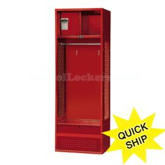 Stadium lockers for sale, built to last a lifetime! Perfect for sports team rooms, football arenas, pro sports stadiums, police and fire stations or even at home in your kid's sports-themed bedroom or game room! Fully accessorized with hooks, a shelf, full-width coat rod, lockable security box and lockable foot locker that also functions as a bench seat. Available in other colors!