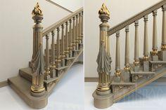 Композиция лестницы состоит из резного столба из дерева с канелюрами и драпировкой L-068 и из маршевых балясин L-060.