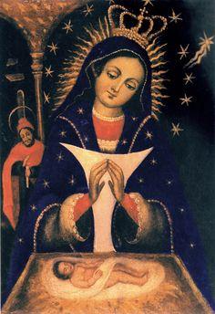 """Si quieres saber más del cuadro de Nuestra Señora de Altagracia, ve este video en Youtube: https://youtu.be/gfPwZUtfGFs ¿Por qué es milagroso? — """"La oración es la fuerza del hombre y la debilidad de Dios"""". ¿Ícono? — Hay 62 elementos distintos en el cuadro. ¿Qué dice a nosotros el Niño Jesús en el cuadro? — Este bebe es DIOS. ¿Las doce estrellas? ¿La Estrella de Belén con ocho puntos? ¿El rayo de luz? ¿Por qué el 21 de enero? ¿De dónde vino, y cuándo llegó el cuadro?"""