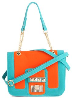 Purely Effervescent Bag - Orange, Blue, Color Block, Chain, Studs, Casual. thank you, modcloth.