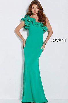 613a792a7e Jade One Shoulder Ruffle Neckline Long Dress 54423  Jovani  PromDress   EveningDress  fashion