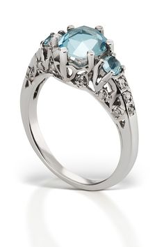 37 Dream Engagement Rings You Haven't Seen #refinery29  http://www.refinery29.com/budget-friendly-engagement-rings#slide25  $2,000 To $3,000 Aquamarine is a stunning choice for a more unique stone — this setting keeps it looking engagement-y.