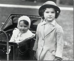 Jackie Bouvier and her baby sister Caroline Lee Bouvier.