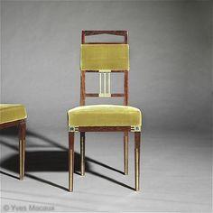Gustave Serrurier-Bovy Side chairs 'Saint-Saens', 1905 Amaranth, brass mounts and Loetz glass