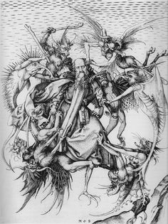Martin Schongauer. The Temptation of St. Anthony. c. 1470. Engraving.