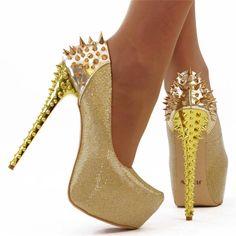 SEXY GOLD metal Spike pole dancing Platform fetish sky high heel shoes NEW 4
