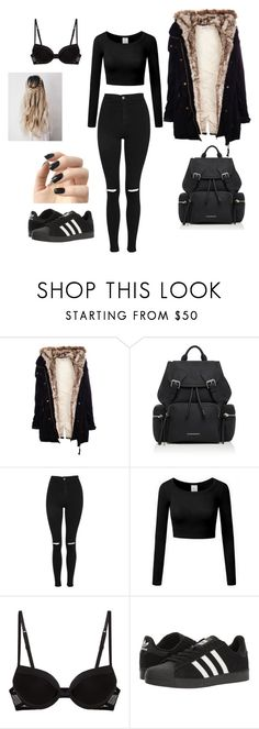 """BEHIND THE DORMITORY🌇📱📓📝✏⚫⬛◼◾♠♣"" by reka15 on Polyvore featuring Pull&Bear, Burberry, Topshop, La Perla, adidas and Incoco"