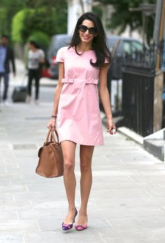 Amal Alamuddin looked pretty in a petal pink dress Tuesday, May 20, while taking a lunch break -- see a picture of George Clooney's gorgeous fiancee!