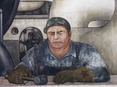 Detail from Detroit Industry fresco by Rivera