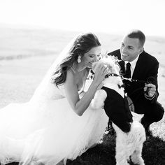 "Right on! Brides.com: . Just because Andrea and Adam chose to host an intimate destination wedding in Tuscany, Italy, didn't mean the couple would say ""I do"" without their beloved pup, Ace, in attendance. The couple made the most of their wedding photos, posing for family portraits with their furry loved one!"