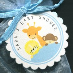 Personalized Baby Shower Favor Tags - Jungle Animal Baby Shower - Personalized Baby Shower Tags for Baby Boys - Baby Shower Ideas