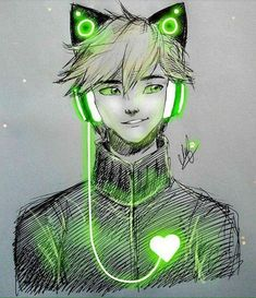 chat noir with kitty headphones! Meraculous Ladybug, Ladybug Comics, Ladybugs, Ladybug Und Cat Noir, Adrien Agreste, Miraculous Ladybug Fan Art, Marinette And Adrien, Wow Art, Chibi