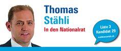 """""""Die Schweiz hat grosse Herausforderungen vor sich. Nicht erst seit der Freigabe des Frankenkurses gegenüber dem Euro brauchen unsere Unternehmen mehr Freiräume, um weiterhin erfolgreich tätig zu sein."""" http://thomasstaehli.wahlenzuerich.ch"""