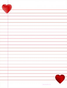Free  Pink Heart Lined Paper Printable  What I Like