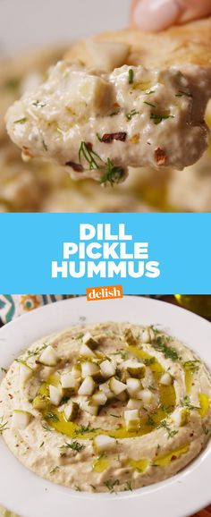Our classic hummus is insanely creamy and delicious, and you should make it. But we really want you to give this dill pickle version a chance too.even if you're not a huge pickle person. Vegan Appetizers, Appetizer Dips, Appetizer Recipes, Vegetarian Recipes, Cooking Recipes, Healthy Recipes, Yummy Recipes, Clean Eating Snacks, Healthy Snacks
