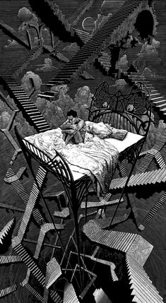 Illustrations Discover The Art Of Animation Psychedelic Art, Escher Kunst, Dark Art Drawings, Drawing Art, Japon Illustration, Arte Obscura, Occult Art, Creepy Art, Dark Fantasy Art