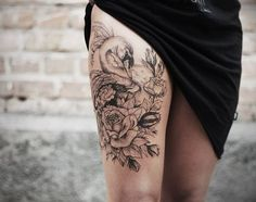 in love with thigh tattoos