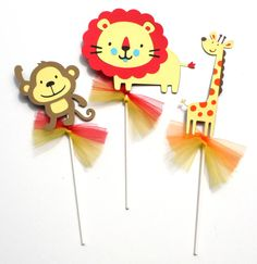 Jungle Animal Themed Party Centerpiece Sticks Set of 3 Monkey, Giraffe and Lion on Etsy, $11.10 CAD
