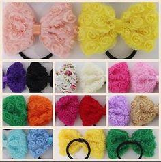 "4"" Vintage Flower Bow Hair Elastic  Shabby chic  Chiffon  Gorgeous summer colours"