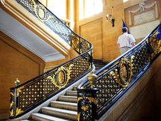 golden staircase | the majestic staircase of the city hall -… | Flickr Wrought Iron Stair Railing, Staircase Railings, Staircase Design, Stairways, Interior Stair Railing, Balcony Railing Design, Stair Decor, Luxury Staircase, Grand Staircase
