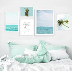 Blue Seawater Posters And Prints Dandelion Coconut Nordic Poster Wall – Elleseal