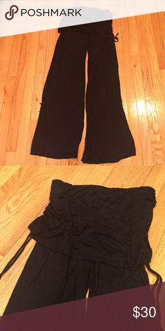 NWOT black comfy flare pants Never worn. Fold down, cinched at each side. Elan  Pants Boot Cut & Flare