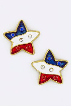 PATRIOTIC-4TH-OF-JULY-RED-WHITE-BLUE-STAR-PIERCED-EARRINGS