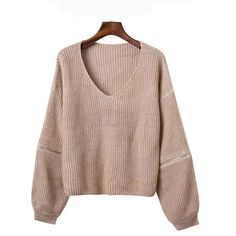 Chicnova Fashion V Neck Ribbed Sweater ($18) ❤ liked on Polyvore featuring tops, sweaters, v neck crop top, v-neck tops, rib knit sweater, ribbed top and brown crop top