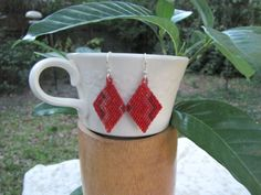 Shades of Red Beaded Earrings by smilch on Etsy