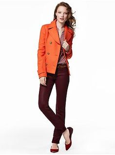 I like this orange blazer.  I own a pair of Lucky skinny corduroys in the same color.