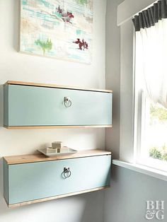 Wall cabinets are often designed to be attached vertically so they open like a door—but who says they can't be modified? When hung horizontally, cabinets open from the top down, kind of life an oven. Plus, they double as a chic shelf. Small Bathroom Storage, Laundry Room Organization, Storage Spaces, Storage Ideas, Creative Storage, Storage Solutions, Shelf Ideas, Creative Ideas, Small Bathrooms