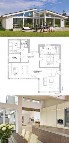 Bungalow mit Pultdach, Fassade außen modern mit Fachwerk und Glas - Winkelbungalow Grundriss Glano Kampa Haus Fertighaus Ideen - HausbauDirekt.de
