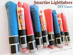 Star Wars Smarties Lightsaber Kids Craft! Perfect for any Star Wars fan, birthday party, Halloween handout treat or even stocking stuffer! Super easy to make even the kids can do it!