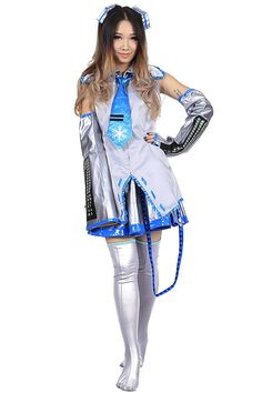 f21cb48e665af Vocaloid Family Cosplay Costume Snow Hatsune Miku Silver Outfit 1st Version  Set High quality product