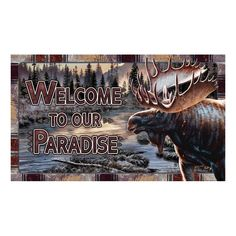 Moose Welcome To Our Paradise Door Mat