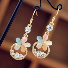 $3.85 Gorgeous Multicolor Flower and Rhinestone Embellished Drop Earrings For Women