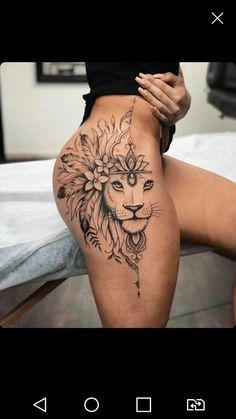 Tribal Hip Tattoos, Hip Thigh Tattoos, Leg Tattoos Women, Leo Tattoos, Dope Tattoos, Body Art Tattoos, Tatoos, Feminine Tattoo Sleeves, Feminine Tattoos